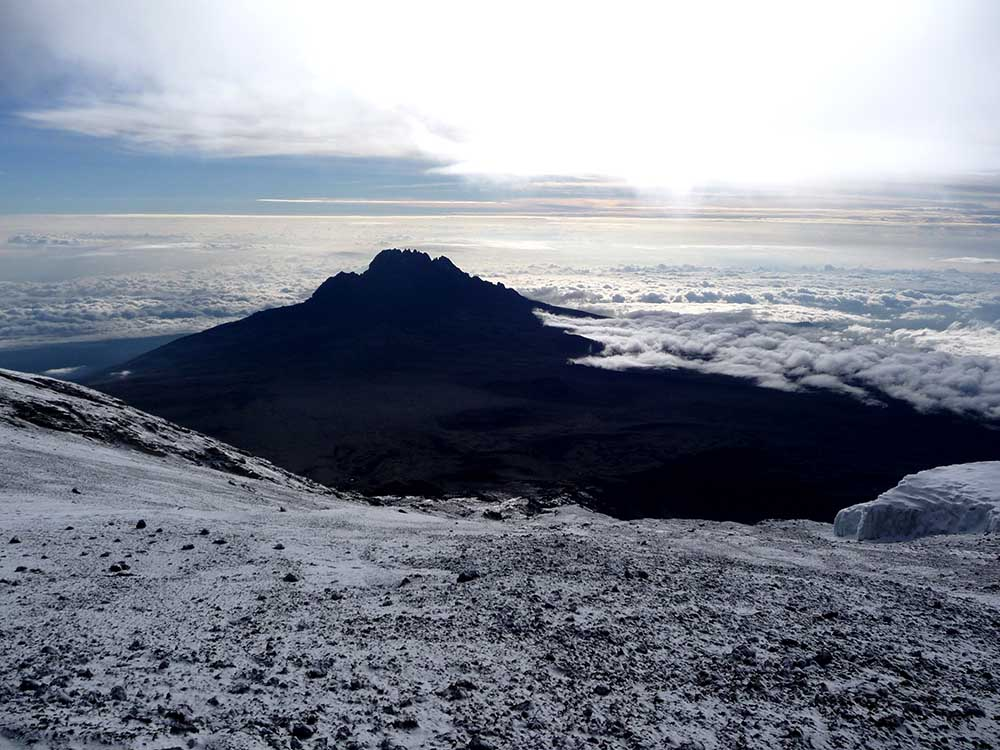 14671547 - the snowy peak of mt kilimanjaro in tanzania, africa